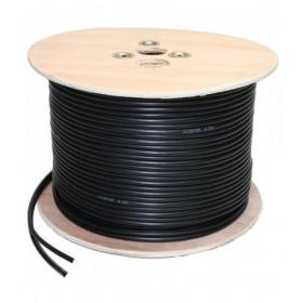 Câble coaxial vidéo KX6 alimentation 2G0.5 noir bobine de 500 mètres