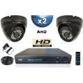 KIT PRO AHD 2 Caméras Dômes SONY HD 720P + Enregistreur DVR AHD 500 Go / Pack de vidéo surveillance