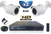 KIT PRO AHD 2 Caméras Tubes SONY HD 720P + Enregistreur DVR AHD 500 Go / Pack de vidéo surveillance