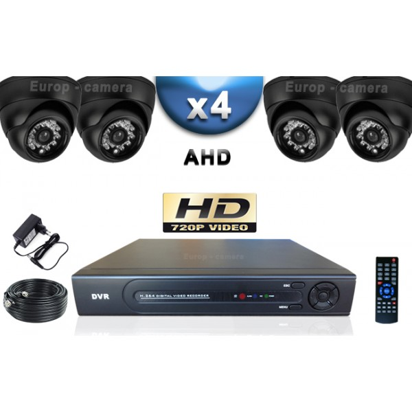 pack video surveillance ahd cvi hd 960p 4 cameras domes. Black Bedroom Furniture Sets. Home Design Ideas
