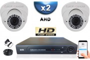 KIT PRO AHD 2 Caméras Dômes IR 35m SONY HD 720P + Enregistreur DVR AHD 500 Go / Pack de vidéo surveillance