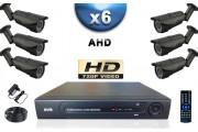 KIT PRO AHD 6 Caméras Tubes IR 40m SONY HD 720P + Enregistreur DVR AHD 1000 Go / Pack de vidéo surveillance