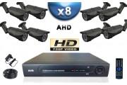 KIT PRO AHD 8 Caméras Tubes IR 40m SONY HD 720P + Enregistreur DVR AHD 2000 Go / Pack de vidéo surveillance
