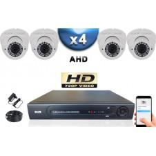 KIT PRO AHD 4 Caméras Dômes IR 35m Capteur SONY HD 960P + Enregistreur DVR AHD 1000 Go / Pack de vidéo surveillance