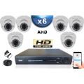 KIT PRO AHD 6 Caméras Dômes IR 35m SONY HD 720P + Enregistreur DVR AHD 1000 Go / Pack de vidéo surveillance