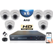 KIT PRO AHD 6 Caméras Dômes IR 35m Capteur SONY HD 960P + Enregistreur DVR AHD 1000 Go / Pack de vidéo surveillance