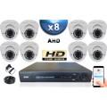 KIT PRO AHD 8 Caméras Dômes IR 35m SONY HD 720P + Enregistreur DVR AHD 2000 Go / Pack de vidéo surveillance