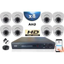KIT PRO AHD 8 Caméras Dômes IR 35m Capteur SONY HD 960P + Enregistreur DVR AHD 2000 Go / Pack de vidéo surveillance
