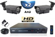 KIT PRO AHD 2 Caméras Tubes IR 60m SONY HD 720P + Enregistreur DVR AHD 500 Go / Pack de vidéo surveillance