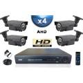 KIT PRO AHD 4 Caméras Tubes IR 60m SONY HD 720P + Enregistreur DVR AHD 1000 Go / Pack de vidéo surveillance