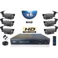 KIT PRO AHD 6 Caméras Tubes IR 60m SONY HD 720P + Enregistreur DVR AHD 1000 Go / Pack de vidéo surveillance