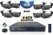 KIT PRO AHD 8 Caméras Tubes IR 60m SONY HD 720P + Enregistreur DVR AHD 2000 Go / Pack de vidéo surveillance