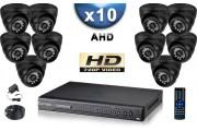 KIT PRO AHD 10 Caméras Dômes IR 20m SONY HD 720P + Enregistreur DVR AHD 2000 Go / Pack de vidéo surveillance