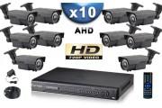 KIT PRO AHD 10 Caméras Tubes IR 60m SONY HD 720P + Enregistreur DVR AHD 2000 Go / Pack de vidéo surveillance