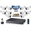KIT PRO AHD 10 Caméras Tubes IR 20m SONY HD 720P + Enregistreur DVR AHD 2000 Go / Pack de vidéo surveillance