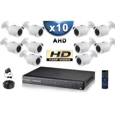 KIT PRO AHD 10 Caméras Tubes IR 20m Capteur SONY HD 960P + Enregistreur DVR AHD 2000 Go / Pack de vidéo surveillance