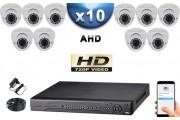 KIT PRO AHD 10 Caméras Dômes IR 35m SONY HD 720P + Enregistreur DVR AHD 2000 Go / Pack de vidéo surveillance