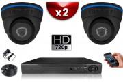 KIT ECO AHD : 2 Caméras Dômes CMOS HD 720P + Enregistreur XVR H265+ 500 Go / Pack de vidéo surveillance