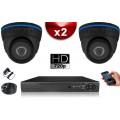 KIT ECO AHD : 2 Caméras Dômes CMOS HD 720P + Enregistreur DVR AHD 500 Go / Pack de vidéo surveillance
