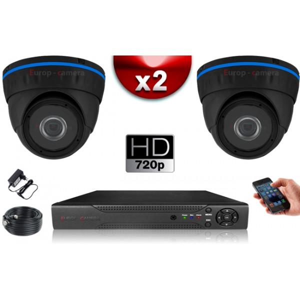 pack video surveillance 2 cameras domes compatible iphone. Black Bedroom Furniture Sets. Home Design Ideas