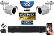 KIT PRO AHD 2 Caméras Tubes IR 30m Capteur SONY FULL HD 1080P + Enregistreur XVR 5MP H264+ 1000 Go / Pack vidéo surveillance