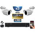 KIT PRO AHD 2 Caméras Tubes IR 30m Capteur SONY FULL HD 1080P + Enregistreur XVR 5MP H265+ 1000 Go / Pack vidéo surveillance