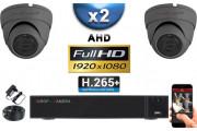 KIT PRO AHD 2 Caméras Dômes IR 20m Capteur SONY FULL HD 1080P + Enregistreur XVR 5MP H264+ 1000 Go / Pack vidéo surveillance