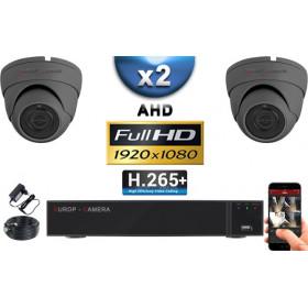 KIT PRO AHD 2 Caméras Dômes IR 20m Capteur SONY FULL HD 1080P + Enregistreur XVR 5MP H265+ 1000 Go / Pack vidéo surveillance
