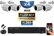 KIT PRO AHD 4 Caméras Tubes IR 20m SONY FULL HD 1080P + Enregistreur DVR AHD FULL HD 2000 Go / Pack de vidéo surveillance