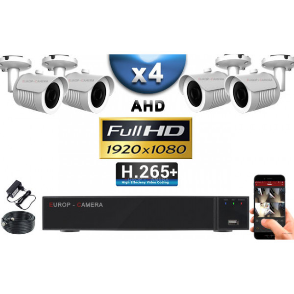 KIT PRO AHD 4 Caméras Tubes IR 30m Capteur SONY FULL HD 1080P + Enregistreur XVR 5MP H265+ 2000 Go / Pack vidéo surveillance