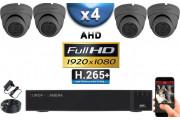 KIT PRO AHD 4 Caméras Dômes IR 20m Capteur SONY FULL HD 1080P + Enregistreur XVR 5MP H64+ 2000 Go / Pack vidéo surveillance