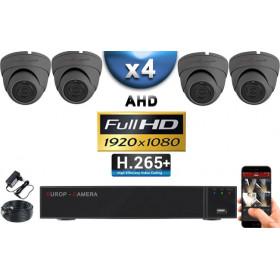 KIT PRO AHD 4 Caméras Dômes IR 20m Capteur SONY FULL HD 1080P + Enregistreur XVR 5MP H265+ 2000 Go / Pack vidéo surveillance
