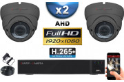 KIT PRO AHD 2 Caméras Dômes IR 35m Capteur SONY FULL HD 1080P + Enregistreur XVR 5MP H264+ 1000 Go / Pack vidéo surveillance