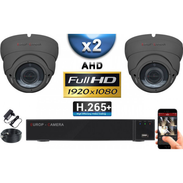 KIT PRO AHD 2 Caméras Dômes IR 35m Capteur SONY FULL HD 1080P + Enregistreur XVR 5MP H265+ 1000 Go / Pack vidéo surveillance
