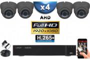 KIT PRO AHD 4 Caméras Dômes IR 35m Capteur SONY FULL HD 1080P + Enregistreur XVR 5MP H264+ 2000 Go / Pack vidéo surveillance