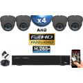 KIT PRO AHD 4 Caméras Dômes IR 35m Capteur SONY FULL HD 1080P + Enregistreur XVR 5MP H265+ 2000 Go / Pack vidéo surveillance