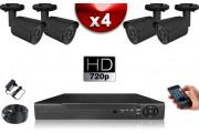 KIT ECO AHD : 4 Caméras Tubes CMOS HD 720P + Enregistreur DVR AHD 500 Go / Pack de vidéo surveillance