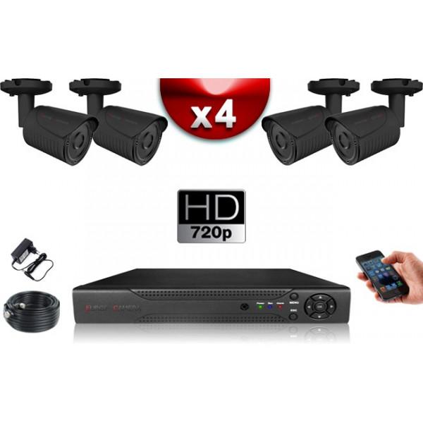 KIT ECO AHD : 4 Caméras Tubes CMOS HD 720P + Enregistreur XVR H265+ 500 Go / Pack de vidéo surveillance