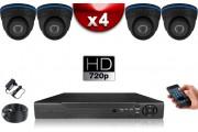 KIT ECO FULL D1 : 4 Caméras Dômes CMOS 800 Lignes + Enregistreur DVR 500 Go / Pack de vidéo surveillance