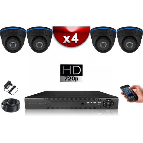 KIT ECO AHD : 4 Caméras Dômes CMOS HD 720P + Enregistreur XVR H265+ 500 Go / Pack de vidéo surveillance