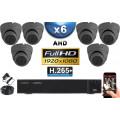 KIT PRO AHD 6 Caméras Dômes IR 20m Capteur SONY FULL HD 1080P + Enregistreur XVR 5MP H264+ 2000 Go / Pack vidéo surveillance