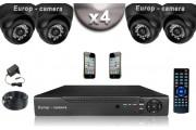 KIT CONFORT 4 Caméras Dômes SONY 1000 TVL + Enregistreur DVR 500 Go / Pack de vidéo surveillance