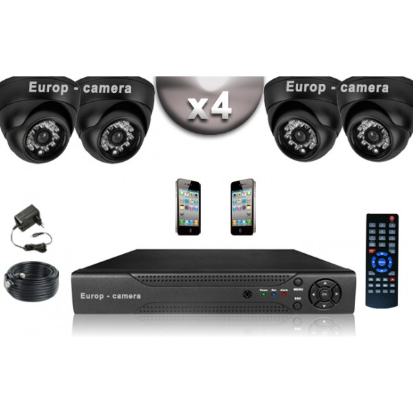 pack video surveillance confort 4 cameras domes compatible iphone. Black Bedroom Furniture Sets. Home Design Ideas