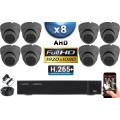 KIT PRO AHD 8 Caméras Dômes IR 20m Capteur SONY FULL HD 1080P + Enregistreur XVR 5MP H265+ 3000 Go / Pack vidéo surveillance
