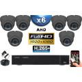 KIT PRO AHD 6 Caméras Dômes IR 35m Capteur SONY FULL HD 1080P + Enregistreur XVR 5MP H264+ 2000 Go / Pack vidéo surveillance