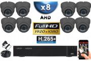 KIT PRO AHD 8 Caméras Dômes IR 35m Capteur SONY FULL HD 1080P + Enregistreur XVR 5MP H264+ 3000 Go / Pack vidéo surveillance
