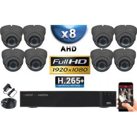 KIT PRO AHD 8 Caméras Dômes IR 35m Capteur SONY FULL HD 1080P + Enregistreur XVR 5MP H265+ 3000 Go / Pack vidéo surveillance
