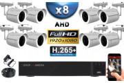 KIT PRO AHD 8 Caméras Tubes IR 30m Capteur SONY FULL HD 1080P + Enregistreur XVR 5MP H264+ 3000 Go / Pack vidéo surveillance