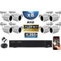 KIT PRO AHD 8 Caméras Tubes IR 30m Capteur SONY FULL HD 1080P + Enregistreur XVR 5MP H265+ 3000 Go / Pack vidéo surveillance