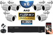 KIT PRO AHD 6 Caméras Tubes IR 30m Capteur SONY FULL HD 1080P + Enregistreur XVR 5MP H265+ 2000 Go / Pack vidéo surveillance